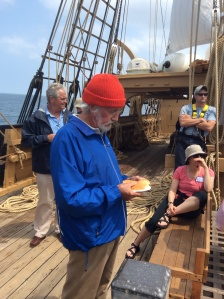 Jean Michel Cousteau on deck of Morgan