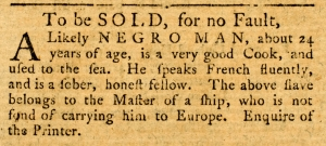 The Royal Gazette, Feb. 6, 1779 Slave Sale Ad