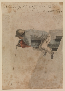 A sailor fishing off a gun. PAF2016